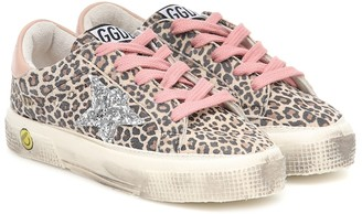 Golden Goose Kids May leopard-print leather sneakers