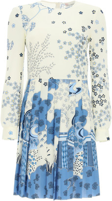 RED Valentino ORIENTAL TOILE DE JOUY PRINT SHORT DRESS 38 White, Light blue, Blue