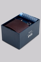 Moss Bros Orange & Sky Tie. Pocket Square and Cufflink Gift Set