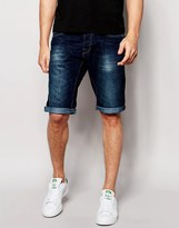 Esprit Denim Short With Roll Up Hem In Dark Wash