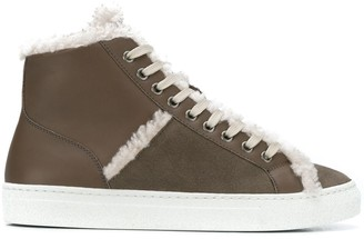Yves Salomon Shearling Trim High-Top Sneakers