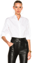 Victoria Beckham Cotton Shirting Grandad Shirt in White.
