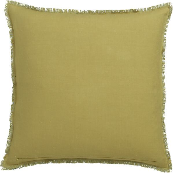 Crate & Barrel Eyelash Yellow and Teal Pillow with Feather-Down Insert.