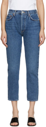 A Gold E Agolde AGOLDE Blue Riley High Rise Straight Crop Jeans