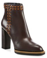 Tod's Stitched Leather Stack-Heel Booties