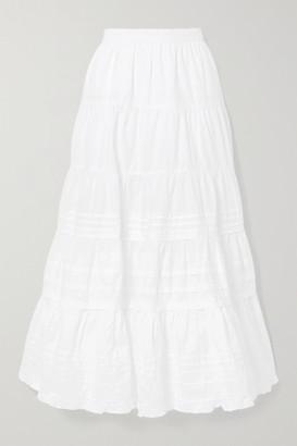 Ulla Johnson Sylvie Ruffle-trimmed Tiered Cotton-poplin Midi Skirt - White