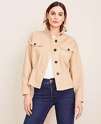 Ann Taylor Drawstring Stand Collar Jacket