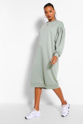 boohoo Oversized Pleated Sleeve Midi jumper Dress