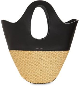 Danse Lente Small Raffia & Leather Bucket Tote Bag