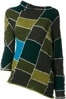 Marni asymmetric patchwork sweater - women - Virgin Wool - 40