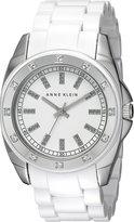 Anne Klein Women's 109179WTWT Silver-Tone Swarovski Crystal Accented Plastic Watch