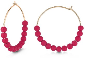 ginette_ny Maria Coral Hoop Earrings - Rose Gold