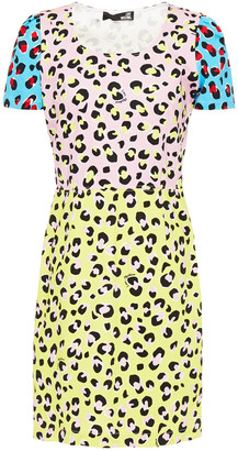 Love Moschino Leopard-print Stretch-cotton Twill Mini Dress