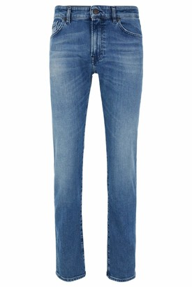HUGO BOSS Mens Maine BC-C Regular-fit Jeans in Bright-Blue Distressed Stretch Denim