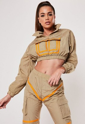 Missguided Sand Contrast Binding Co Ord Crop Jacket