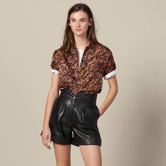 Sandro Leather Shorts With Quilted Waist