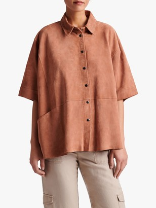 Gerard Darel Gloria Suede Short Sleeve Jacket, Pink
