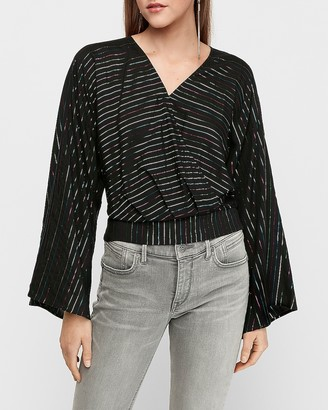 Express Metallic Stripe Bell Sleeve Wrap Front Top