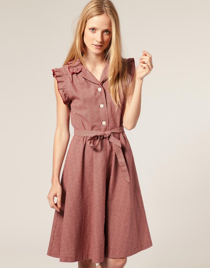 YMC Fish Scale Print Dress With Full Skirt