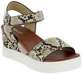 Mia Cayla Open Toe Snake Skin Embossed Platform Wedge