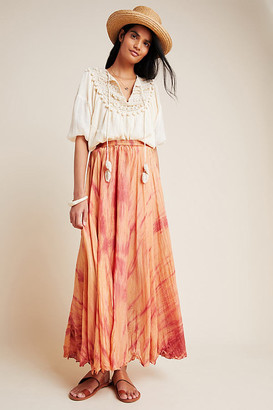 Mes Demoiselles Rochelle Silk Maxi Skirt By in Orange Size 8