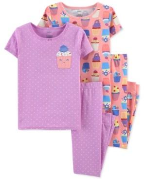 Carter's Little & Big Girls 4-Pc. Cupcake Cotton Pajamas Set