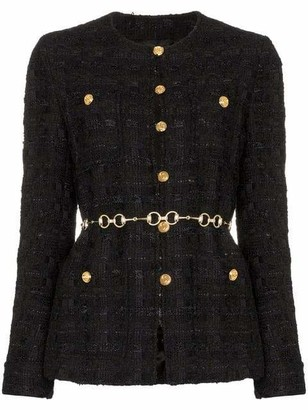 Gucci Tweed Round Neck Fitted Jacket