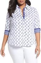 Foxcroft Plus Size Women's Flamingo Print Wrinkle-Free Shirt
