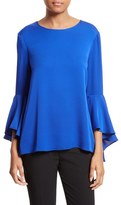 Milly Women's Bell Sleeve Stretch Silk Blouse