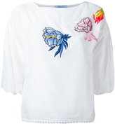Blumarine embroidered patches top - women - Silk/Cotton/Polyamide/Viscose - 42