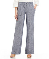 Jones New York Cross-Dye Washed Linen-Blend Drawstring Pants