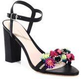 Loeffler Randall Layla Pom-Pom Leather Block Heel Sandals