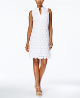 Charter Club Floral-Lace Split-Neck Shift Dress, Only at Macy's