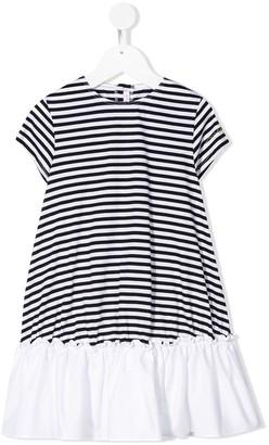 Il Gufo Ruffle Hem Striped Print Dress