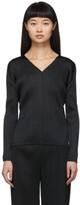 Pleats Please Issey Miyake Black Pleats Basics V-Neck Pullover
