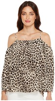 Vince Camuto Long Sleeve Leopard Song Cold-Shoulder Blouse Women's Blouse