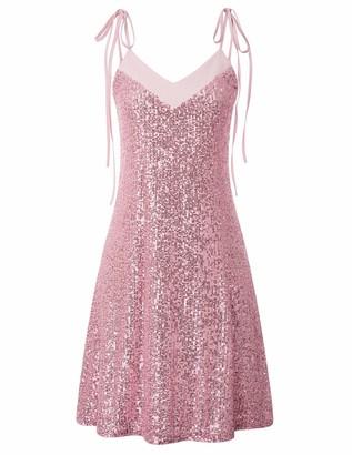 Liumilac Women A-Line Glitter Spagetti Straps Mini Club Wedding Dresses V-Back Pink 26-2M