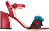 Gucci floral-embellished sandals - women - Leather/Cotton/Viscose - 37.5