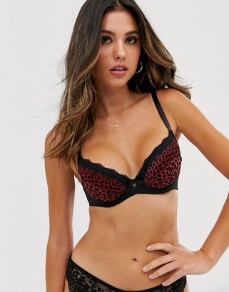 Pour Moi? Pour Moi roar padded bra in black & red