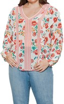 Flying Tomato Floral Print V-Neck Blouse (Plus Size)