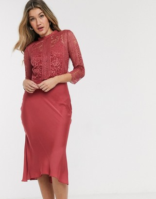 Little Mistress satin and lace midi dress in rose