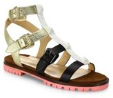Christian Louboutin Rock N Buckle Colorblock Leather Block-Heel Sandals