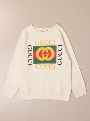 Gucci Crewneck Sweatshirt In Cotton With Vintage Logo