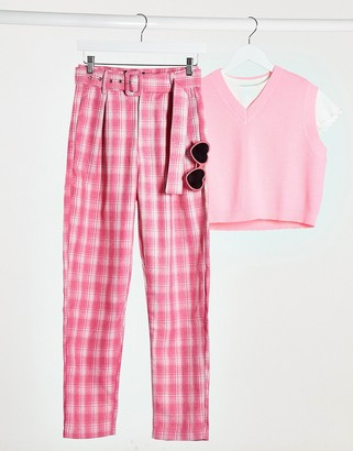 Heartbreak tailored peg leg trouser suit in pink check