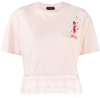 Alanui fringed embroidered T-shirt