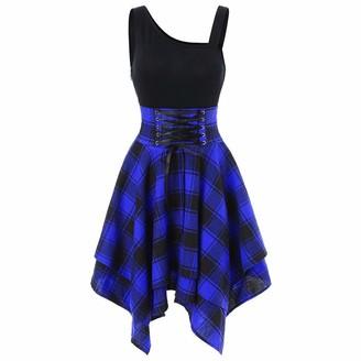 VECDY Women Dress High Elasticity Sleeveless Bandage Cold Shoulder Cross Lace Up Plaid Print Irregular Dress UK 8~16 Size(16