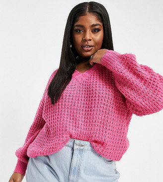 AX Paris Plus chunky chenille jumper in pink