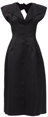 Maison Rabih Kayrouz Tie-back Satin-twill Midi Dress - Black