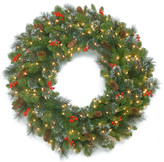 Crestwood National Tree Company Spruce Wreath w/ Battery Operated Warm White LED Lights, 30""