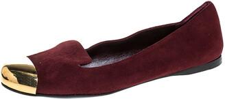 Saint Laurent Burgundy Suede Metal Cap Toe Evelyn Loafers Size 36.5